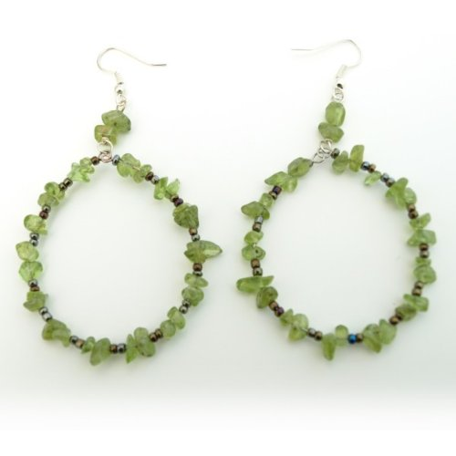 Translucent Green Hoop Earrings