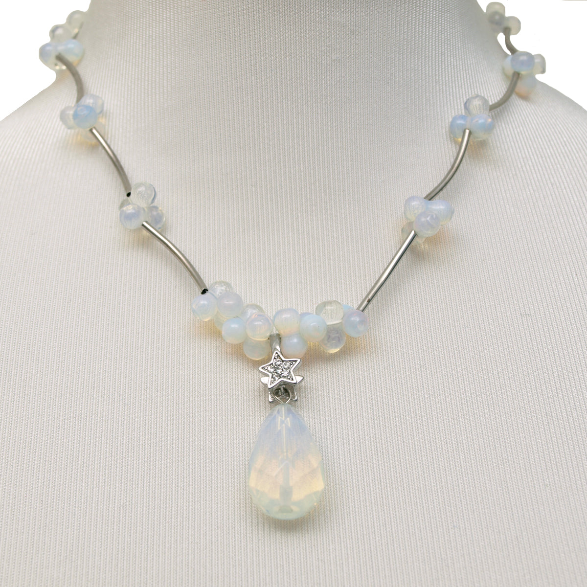 Opal Clusters with Teardrop Pendant Necklace, 17 inches