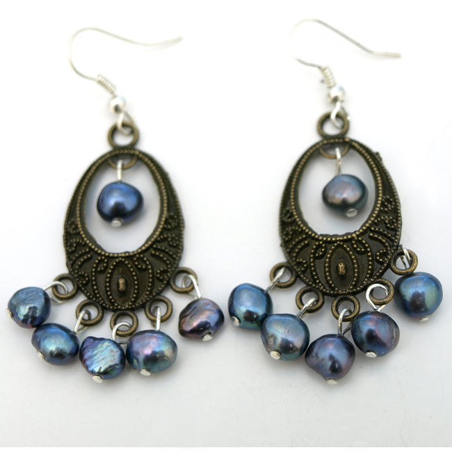 Shimmery Peacock Chandelier Earrings