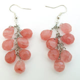 Cherry Quartz Cluster Drop Earrings