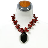 Red Coral and Black Agate Pendant Necklace, Earrings, Bracelet Jewelry Set, 17 inches