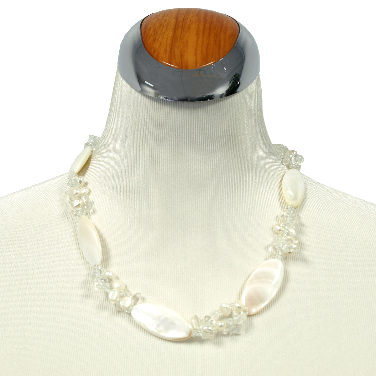 Almond Shaped Shell Necklace with Crystal Clusters, 20 inches