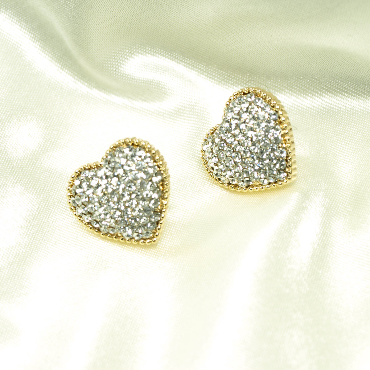 Gold Plated Rhinestone Heart Earrings