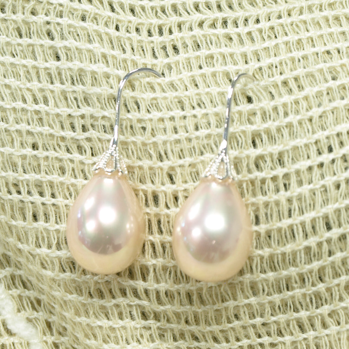 Teardrop Seashell Bead Earrings