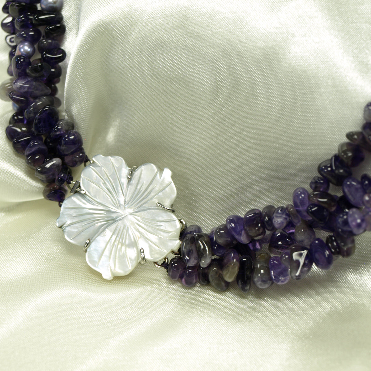 Three Strand Purple Cluster Necklace with Seashell Hawaiian Flower, 18 inches