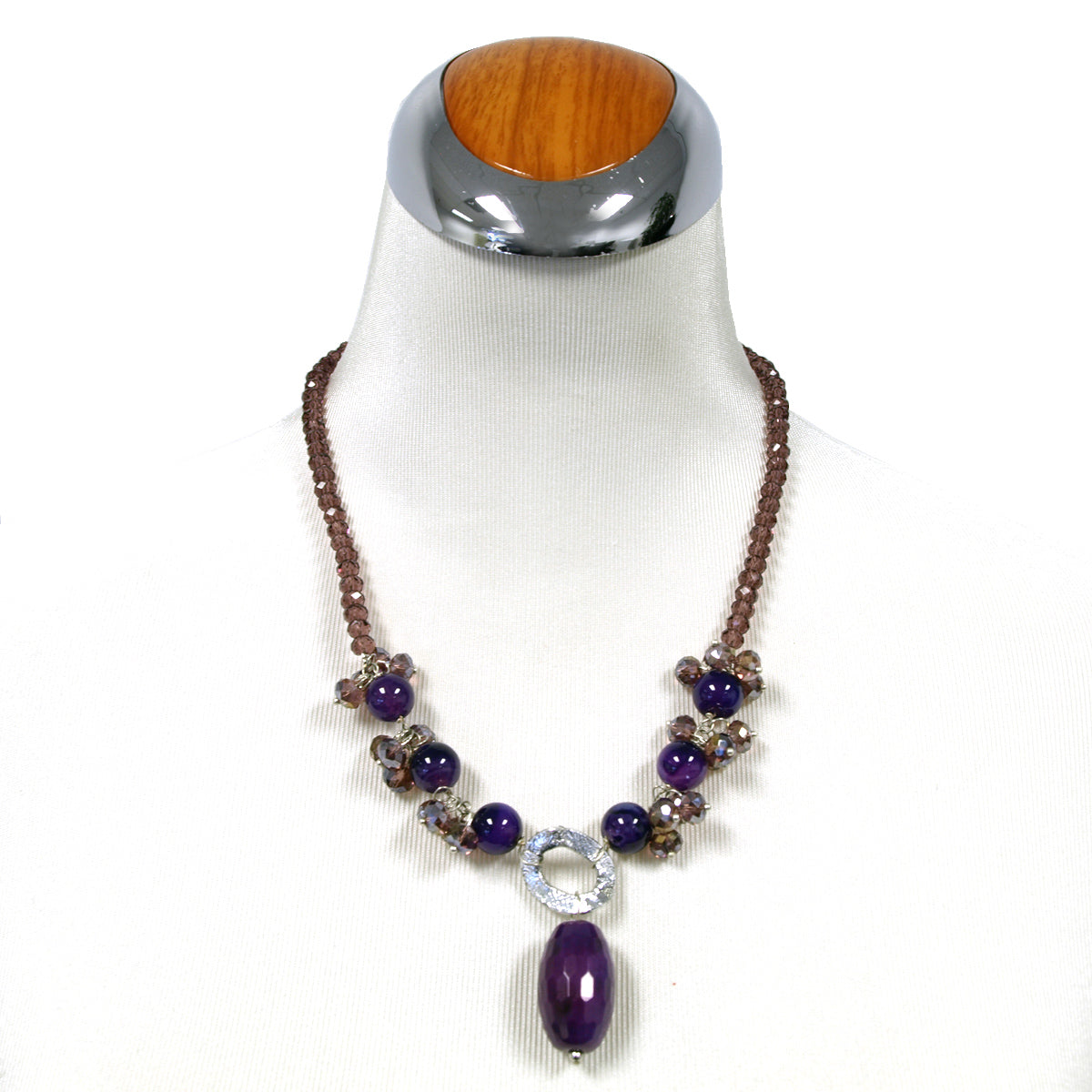 Purple Crystal and Agate Pendant Necklace, 19.5 inches