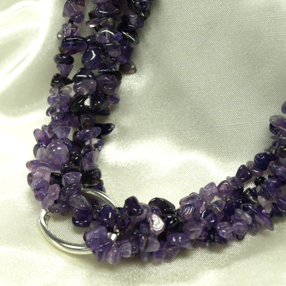Four Strand Purple Cluster Necklace, 20.5 inches