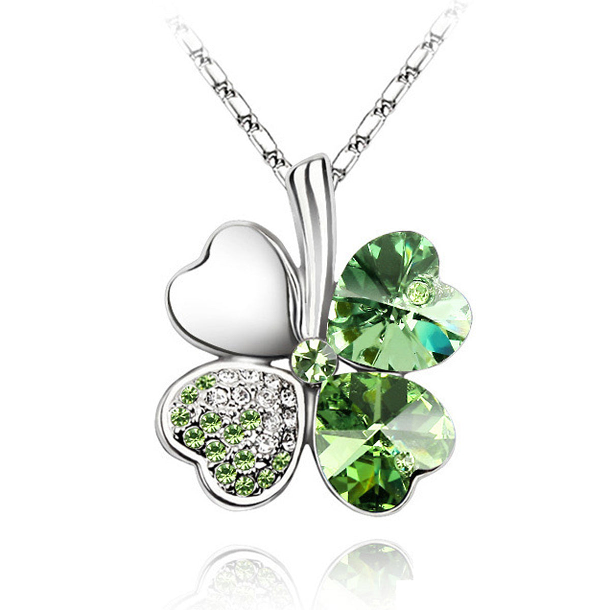 Gold Plated Swarovski Elements Crystal Four Leaf Clover Pendant Necklace