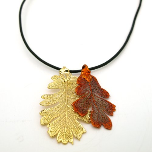 Gold Plated Lacey Oak Leaf Brooch
