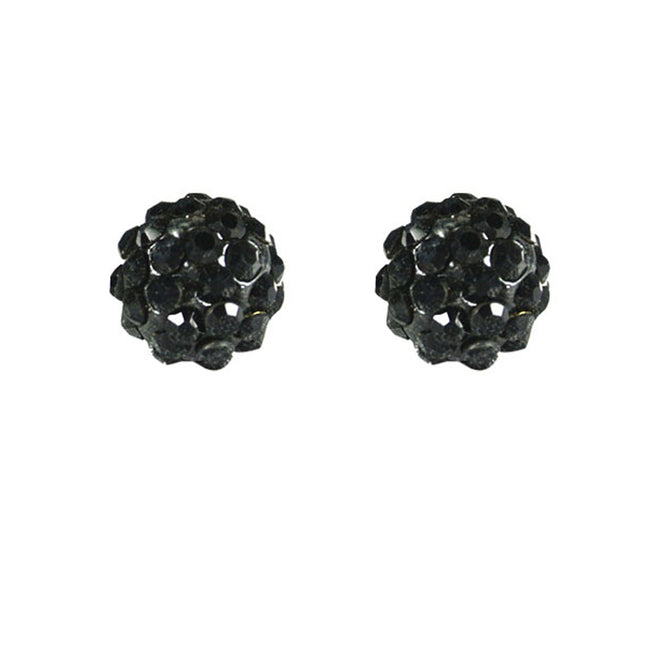 Black Crsytal Ball Sterling Silver Stud Earrings