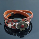 Daisy Multi-Wrap Leather Snap Bracelet