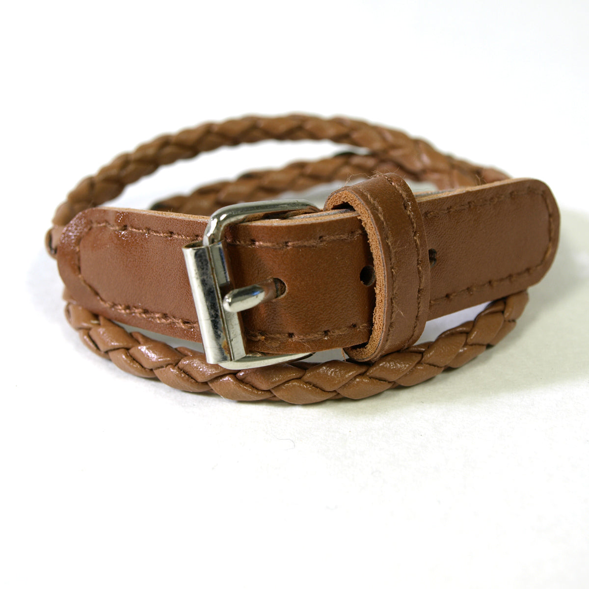 Leather Double Wrap Belt Bracelet