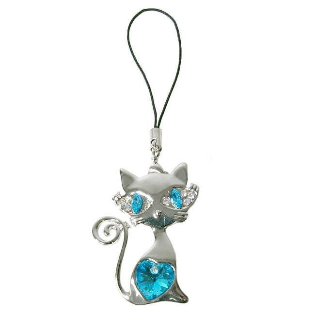 Stylish Crystal Cool Cat Phone Charm