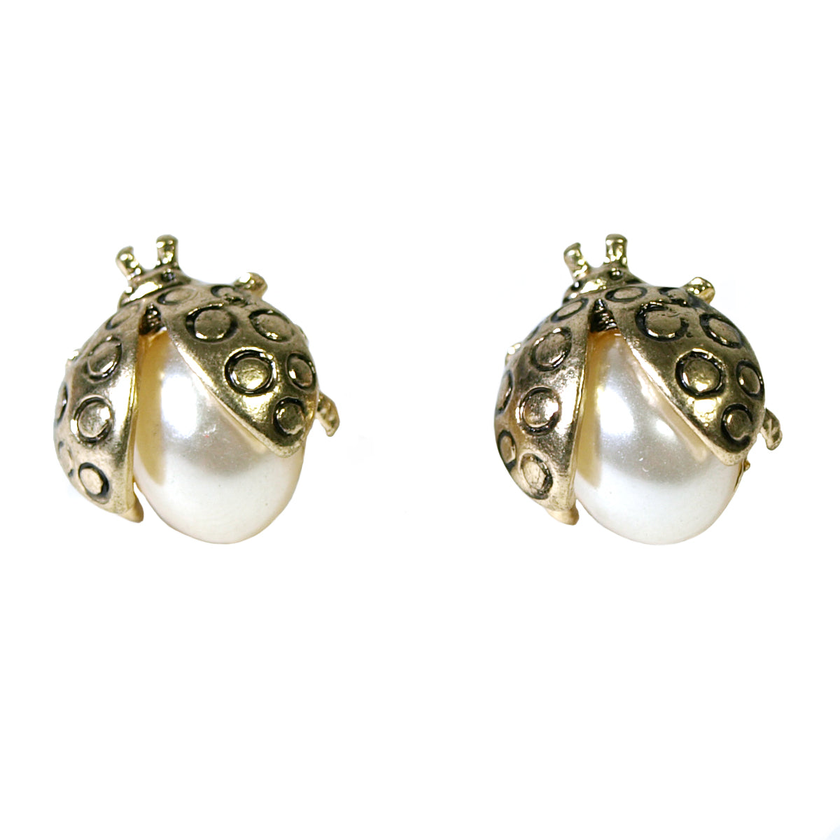 Golden Ladybug Earrings with Faux Pearl