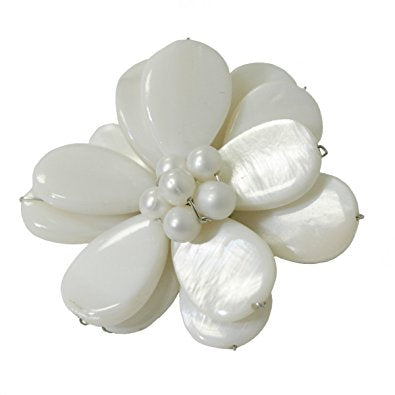 Ivory Shell Flower Brooch