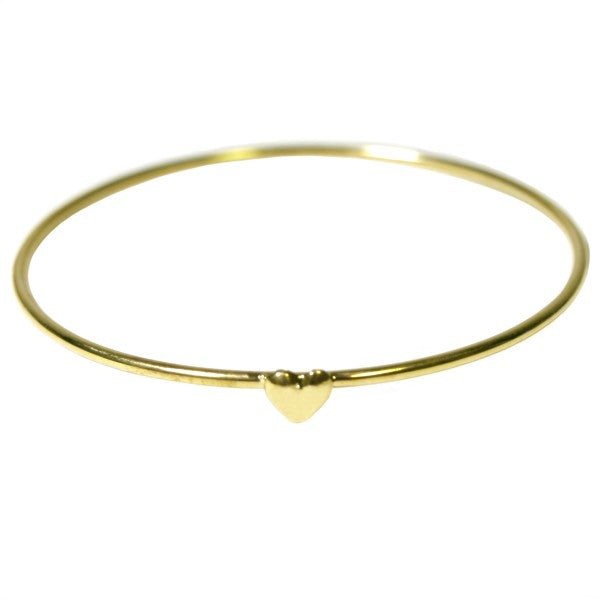 Gold Plated Heart Bangle Bracelet