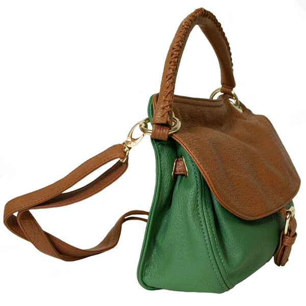 Mali Green Two Tone Handbag / Shoulder Bag