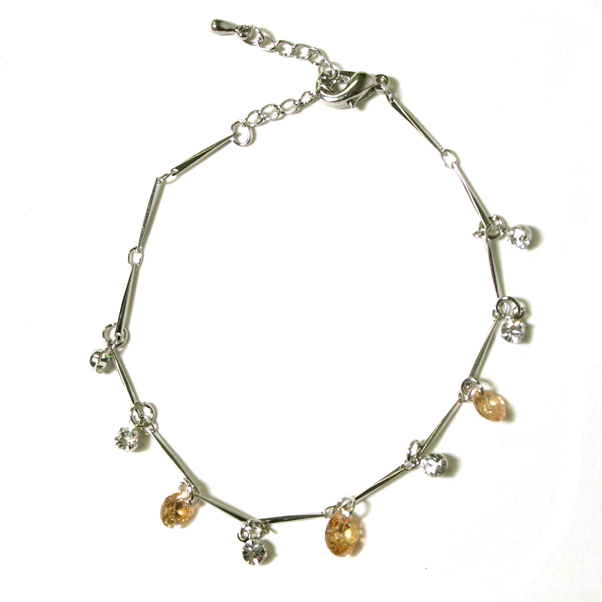 Cubic Zirconia Crystals with Silver Plating Anklet