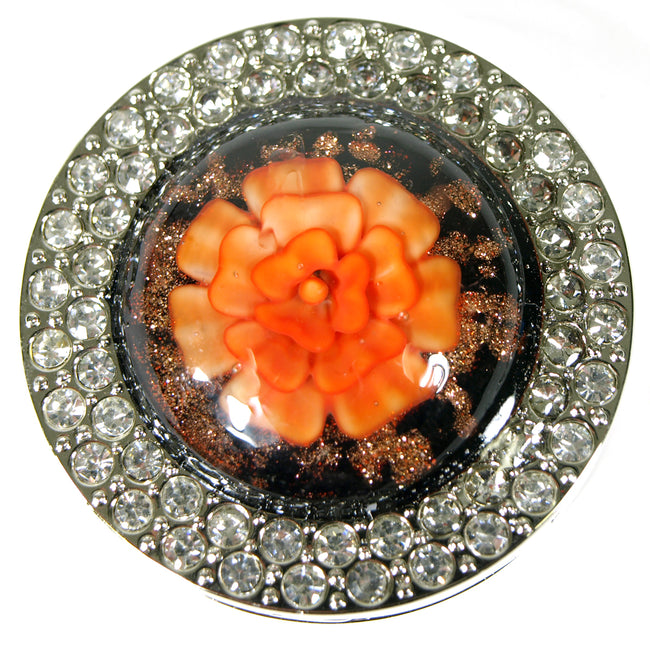 Peach Flower Purse Hook Hanger with Rhinestones
