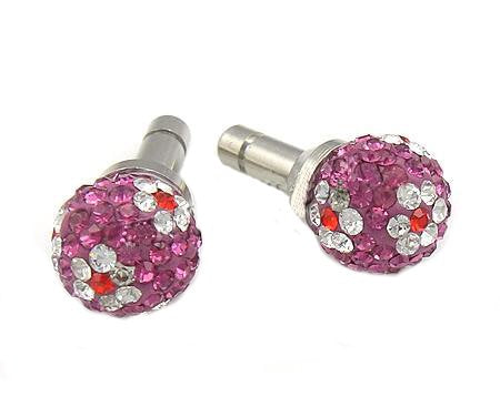 Rhinestone Daisies Globe Anti-dust Plug - Purple