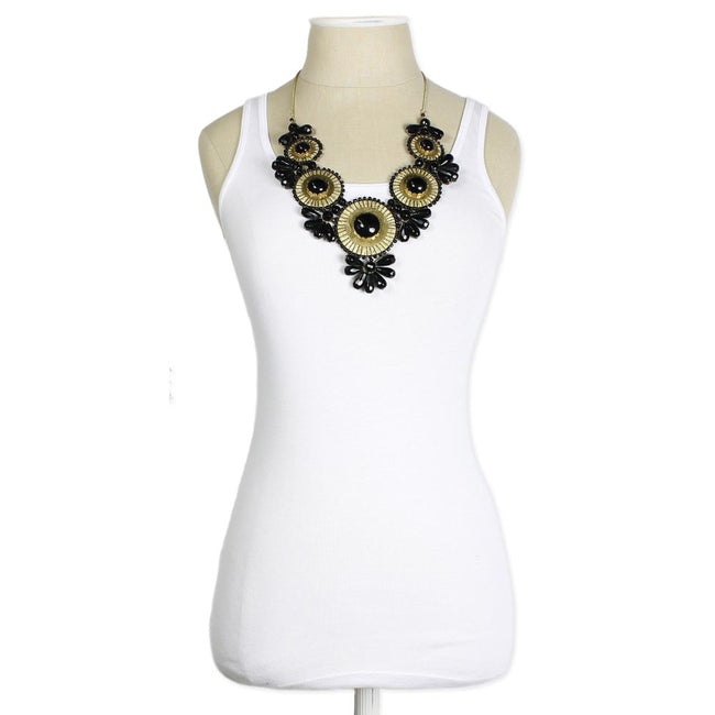 "Zad Black Beaded Medallion Bib Necklace 24""-26"""