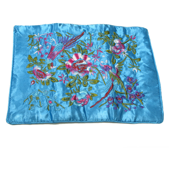 Large Silk Embroidered Jewelry Rolls - Sky Blue