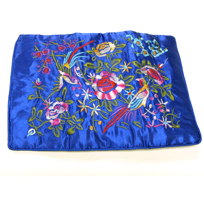 Large Silk Embroidered Jewelry Rolls - Royal Blue