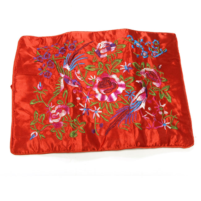 Large Silk Embroidered Jewelry Rolls - Red