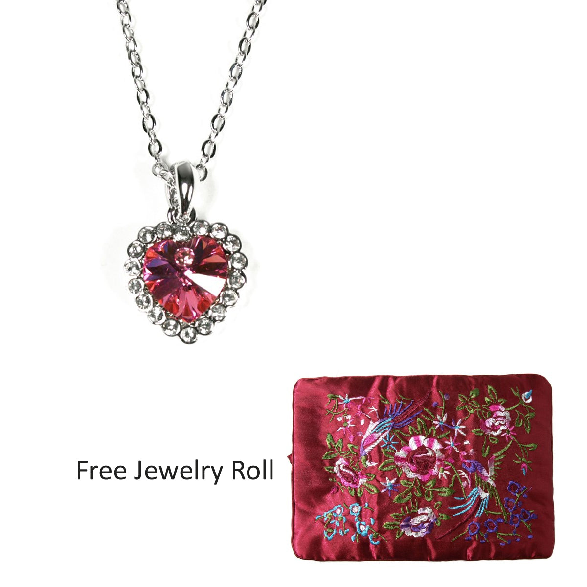 Rose Red Heart Shaped Swarovski Elements Crystal Pendant Necklace, 16 Inches + Large Burgundy Silk Embroidered Jewelry Roll