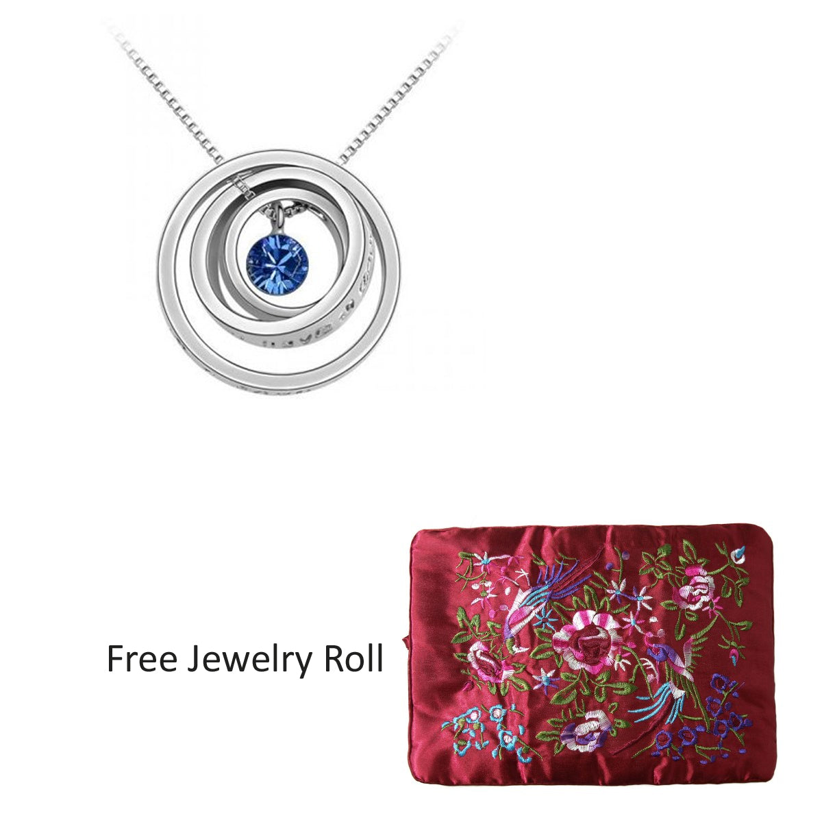 Swarovski Elements Crystal White Gold Plated Triple Rings Pendant Necklace + Large Burgundy Silk Embroidered Jewelry Roll