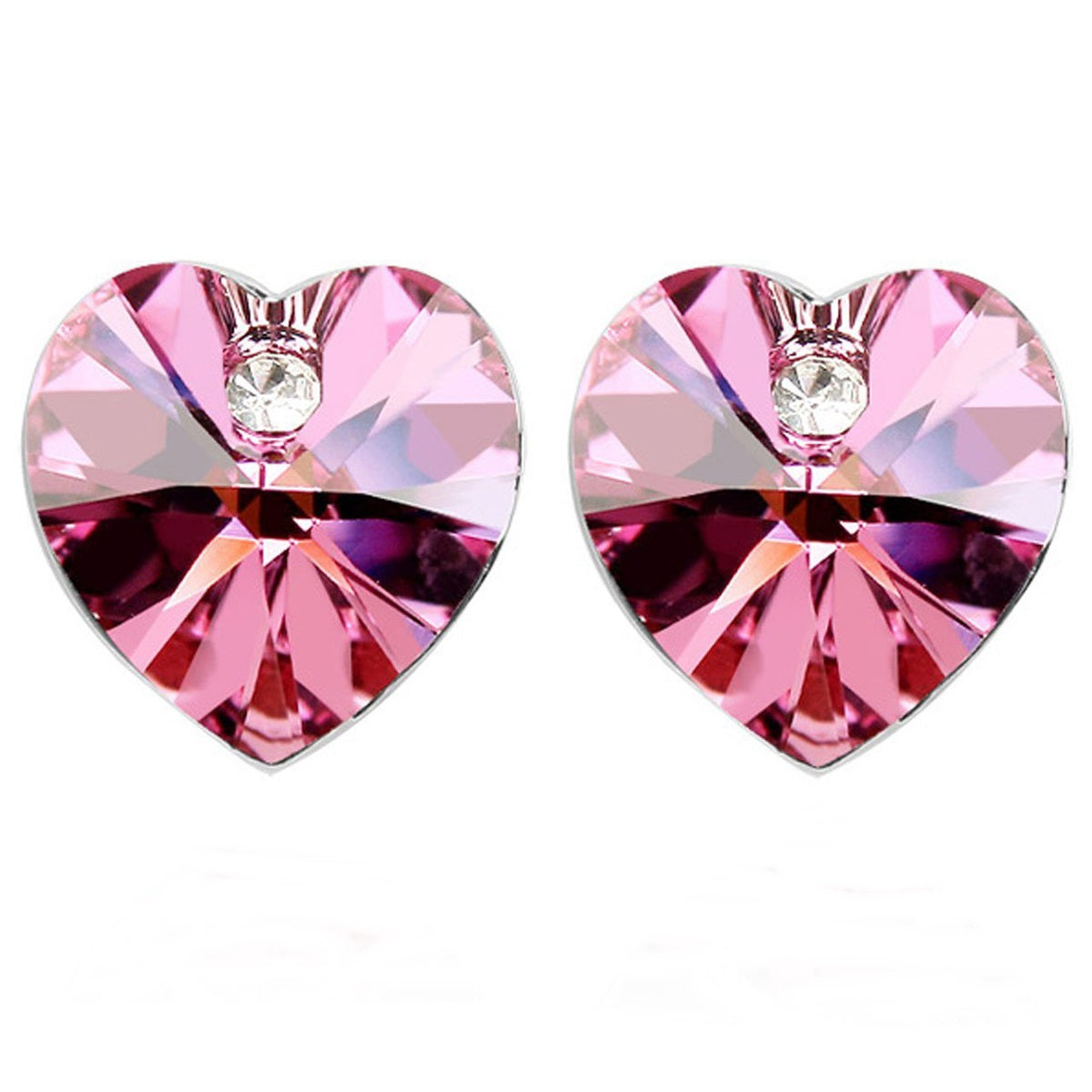 Rose Red Swarovski Elements Crystal Heart Gold Plated Stud Earrings