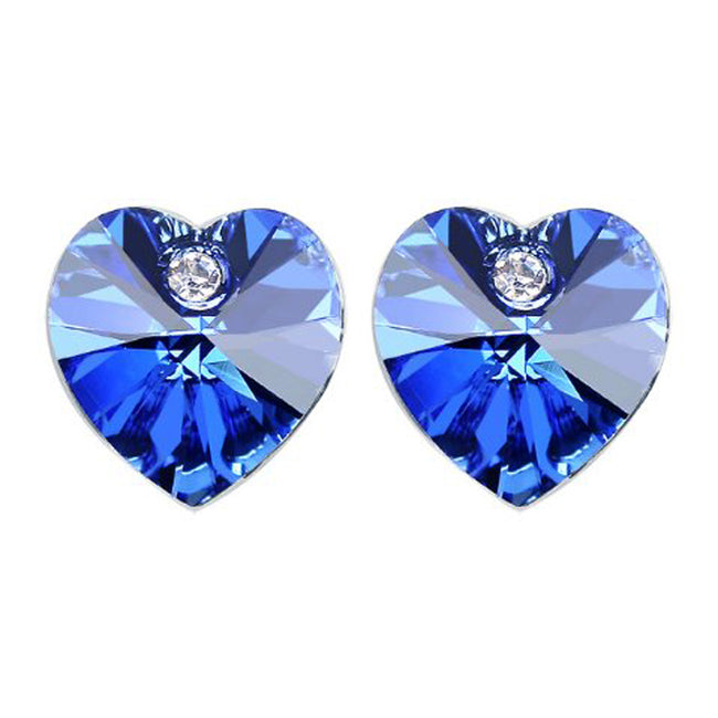 Royal Blue Swarovski Elements Crystal Heart Gold Plated Stud Earrings