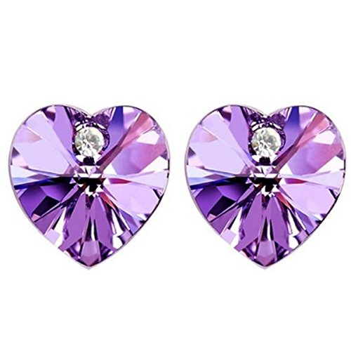 Purple Swarovski Elements Crystal Heart Gold Plated Stud Earrings
