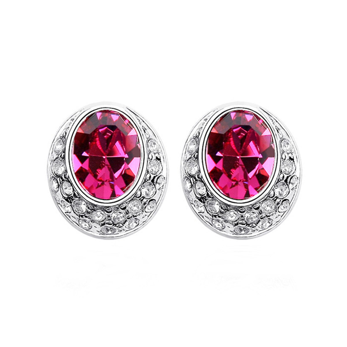 Magenta Swarovski Elements Crystal Earrings