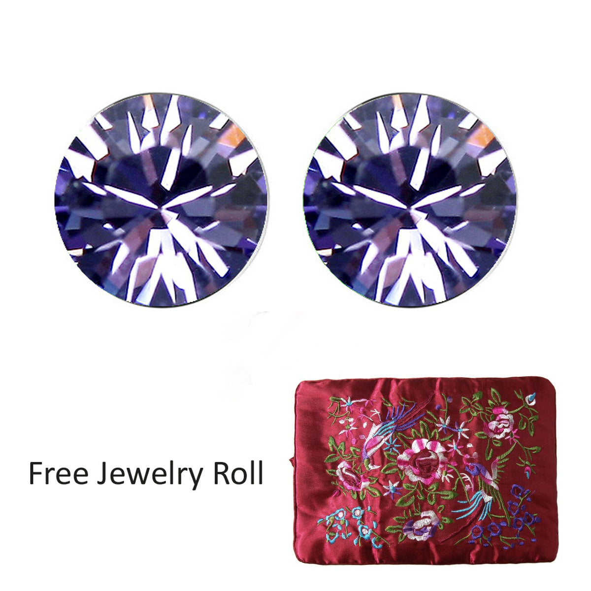 Purple Swarovski Elements Crystal Stud Earrings + Large Burgundy Silk Embroidered Jewelry Roll