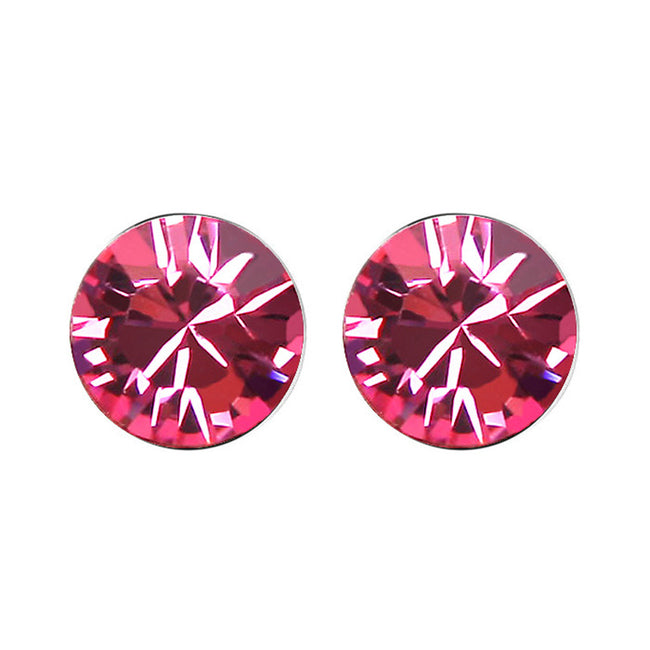 Rose Swarovski Elements Crystal Stud Earrings + Large Burgundy Silk Embroidered Jewelry Roll