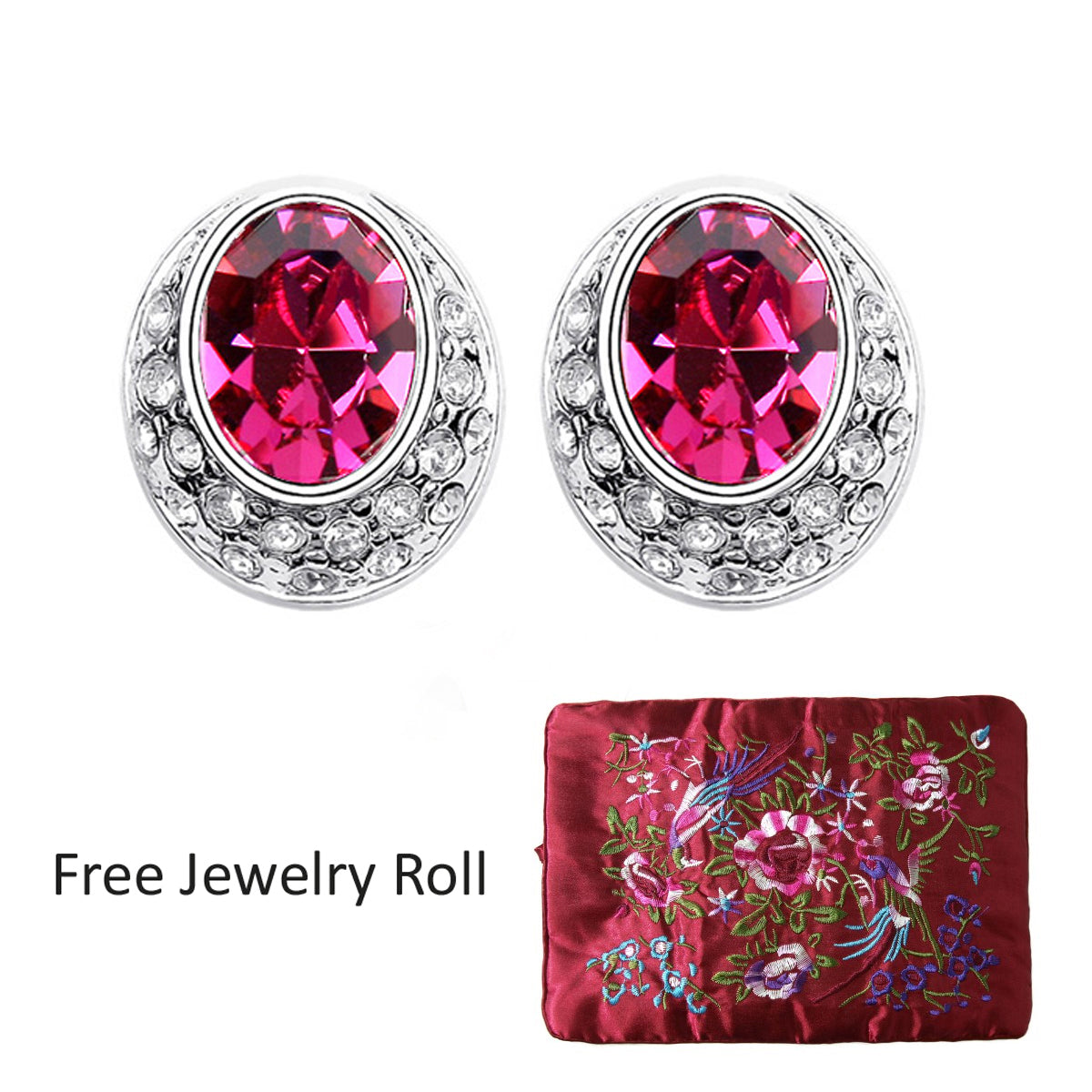 Magenta Swarovski Elements Crystal Earrings + Large Burgundy Silk Embroidered Jewelry Roll