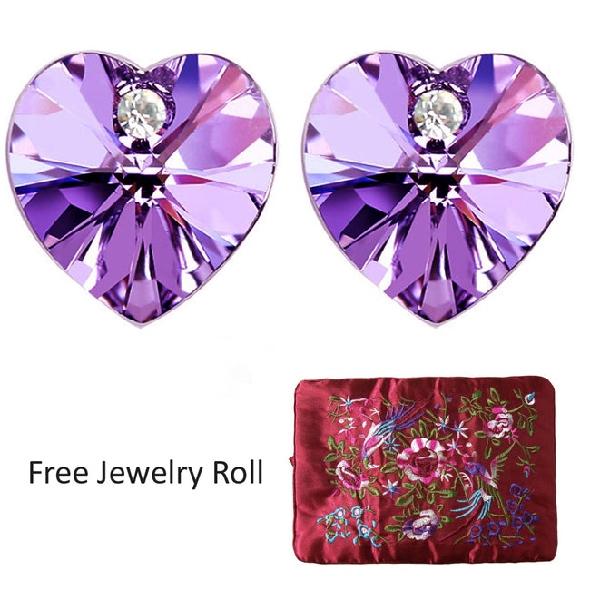 Purple Swarovski Elements Crystal Heart Gold Plated Stud Earrings + Large Burgundy Silk Embroidered Jewelry Roll