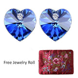 Royal Blue Swarovski Elements Crystal Heart Gold Plated Stud Earrings + Large Burgundy Silk Embroidered Jewelry Roll