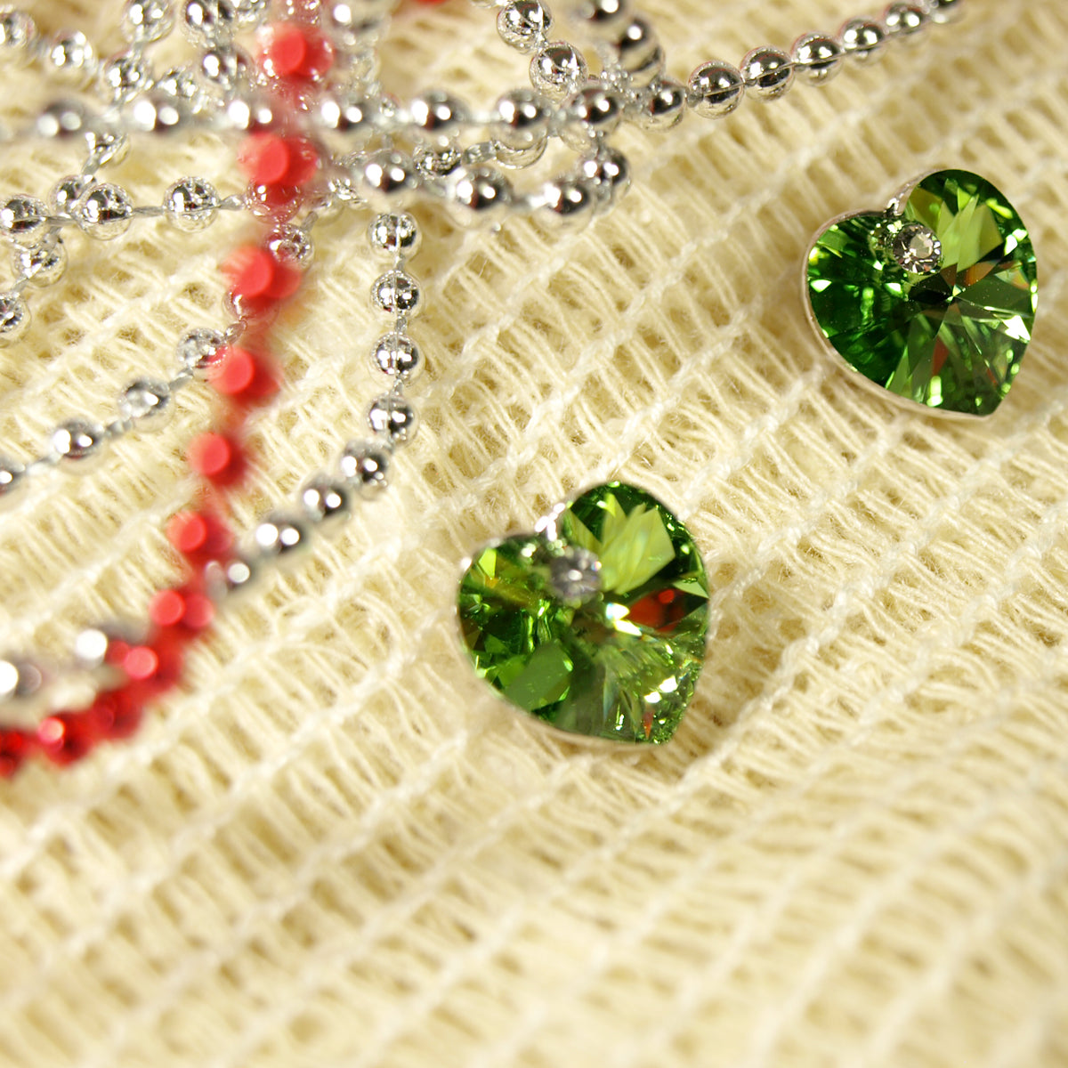 Green Swarovski Elements Crystal Heart Gold Plated Stud Earrings + Large Burgundy Silk Embroidered Jewelry Roll