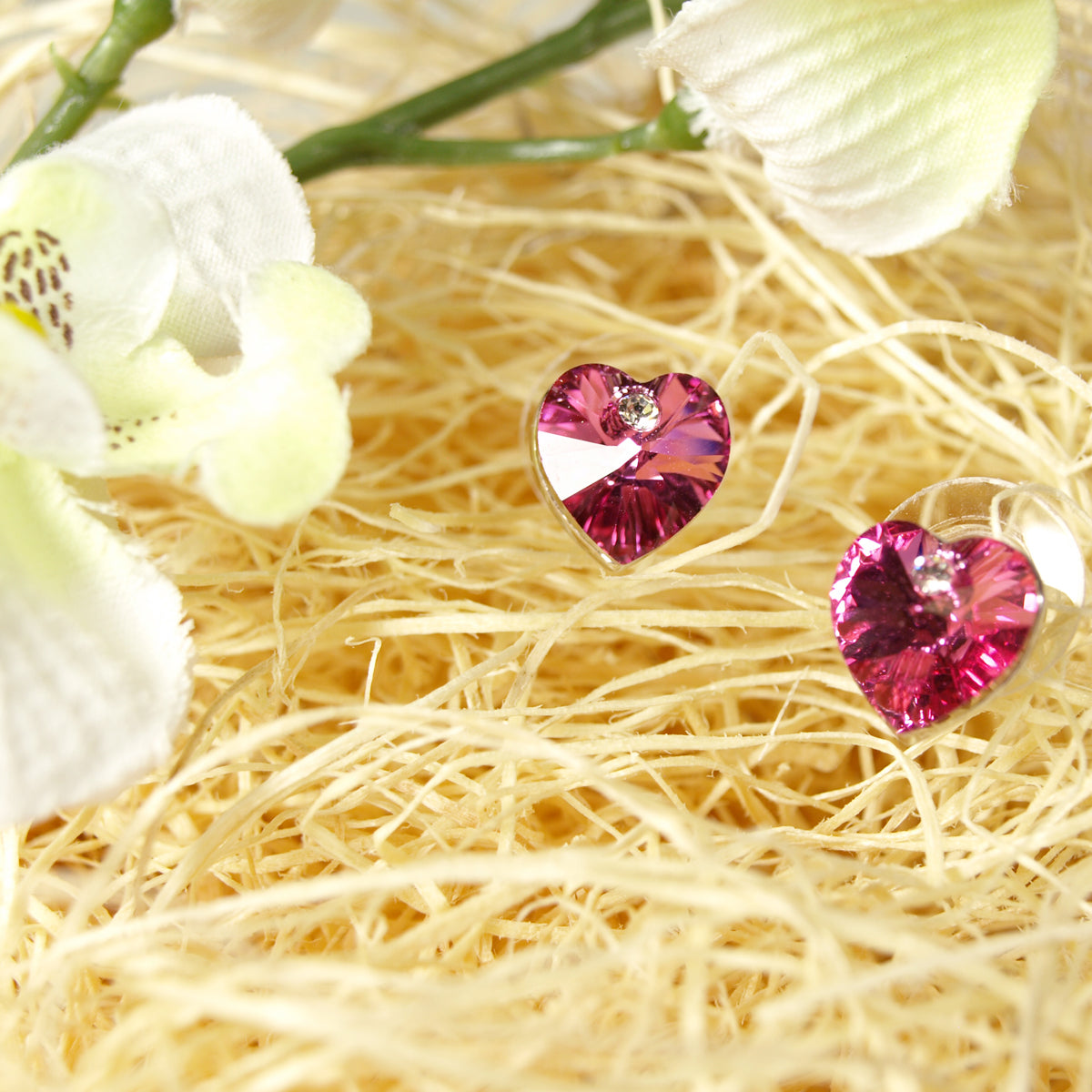 Rose Red Swarovski Elements Crystal Heart Gold Plated Stud Earrings + Large Burgundy Silk Embroidered Jewelry Roll
