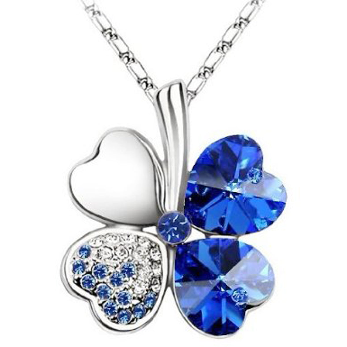 Lucky Sweethearts Gold Plated Swarovski Elements Crystal Heart Shaped Four Leaf Clover Pendant Necklace and Earrings Jewelry Set (Royal Blue)