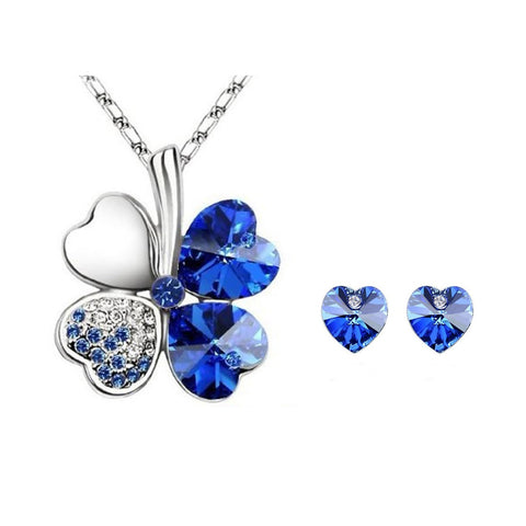 Sapphire Blue Swarovski Elements Crystal Heart Gold Plated Necklace and Earrings Jewelry Set + Large Burgundy Silk Embroidered Jewelry Roll