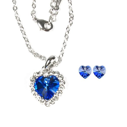Royal Blue Swarovski Elements Crystal Heart Gold Plated Necklace and Earrings Jewelry Set