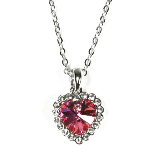 Rose Red Swarovski Elements Crystal Heart Gold Plated Necklace and Earrings Jewelry Set
