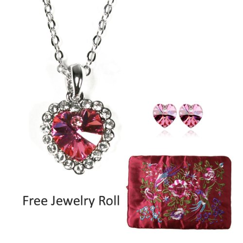 Rose Red Swarovski Elements Crystal Heart  Gold Plated Necklace and Earrings Jewelry Set + Large Burgundy Silk Embroidered Jewelry Roll