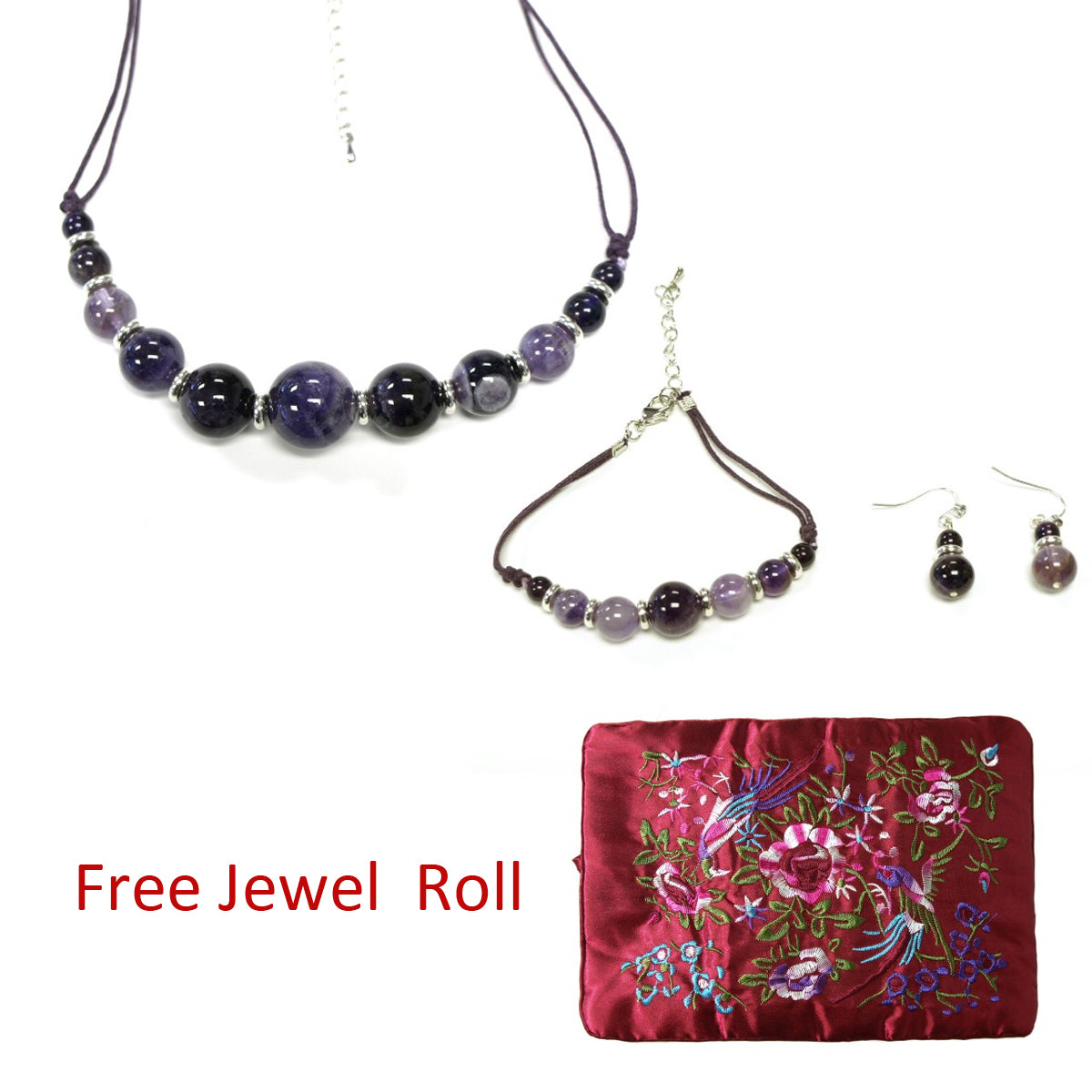 Round Purple Quartz Beads Necklace, Bracelet, and Earrings Jewelry Set + Large Burgundy Silk Embroidered Jewelry Roll