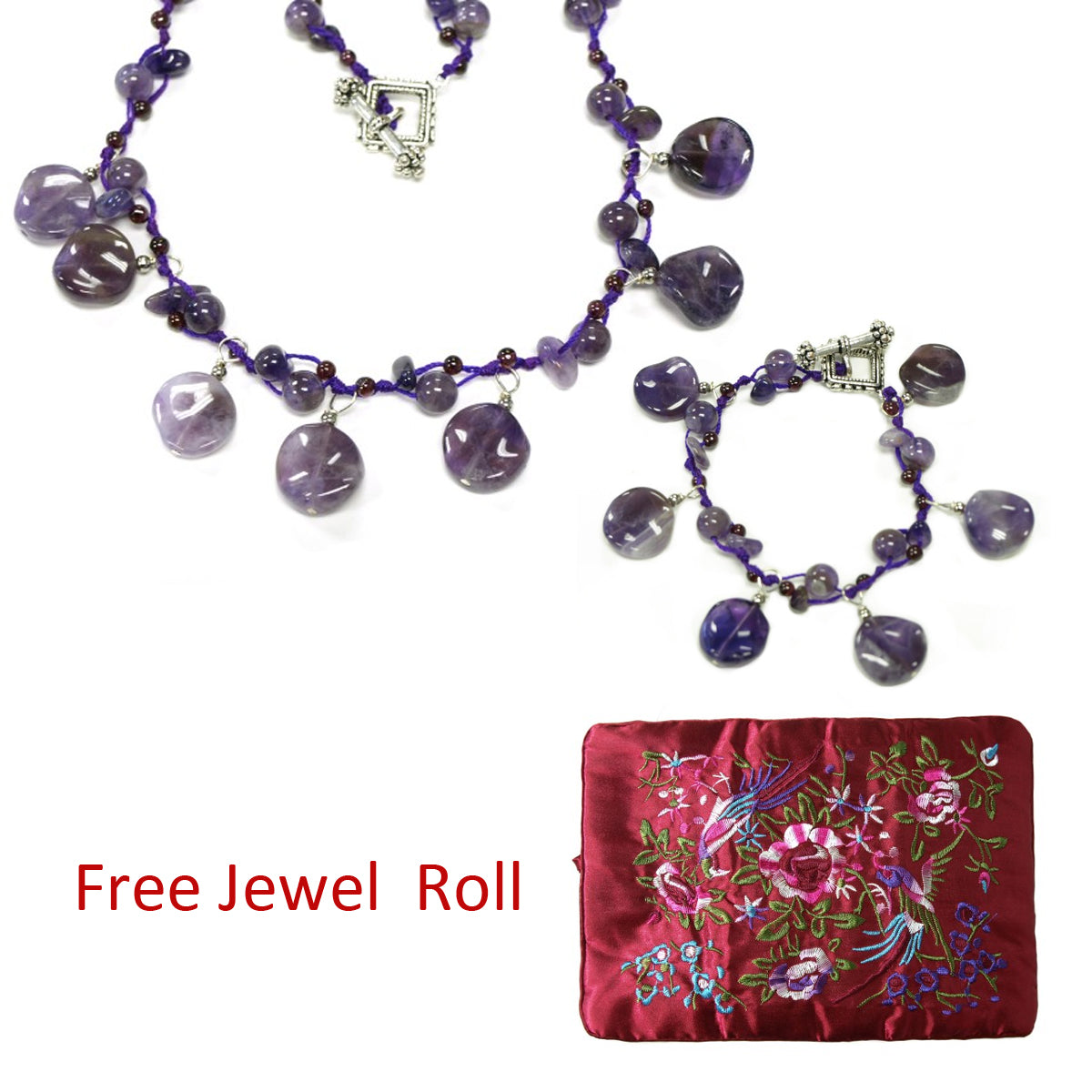 Purple Quartz Necklace and Bracelet Jewelry Set + Large Burgundy Silk Embroidered Jewelry Roll