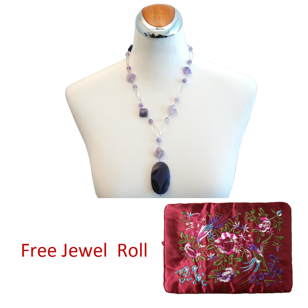 Royal Purple Drop Pendant Necklace, 23.6 inches + Large Burgundy Silk Embroidered Jewelry Roll