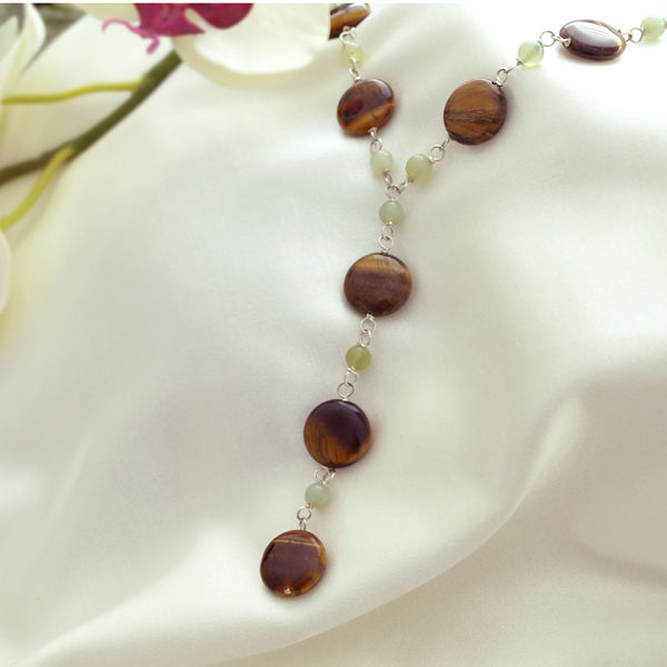 Tiger Eye Drop Necklace with Adjustable Chain, 17.7 inch + Large Burgundy Silk Embroidered Jewelry Roll